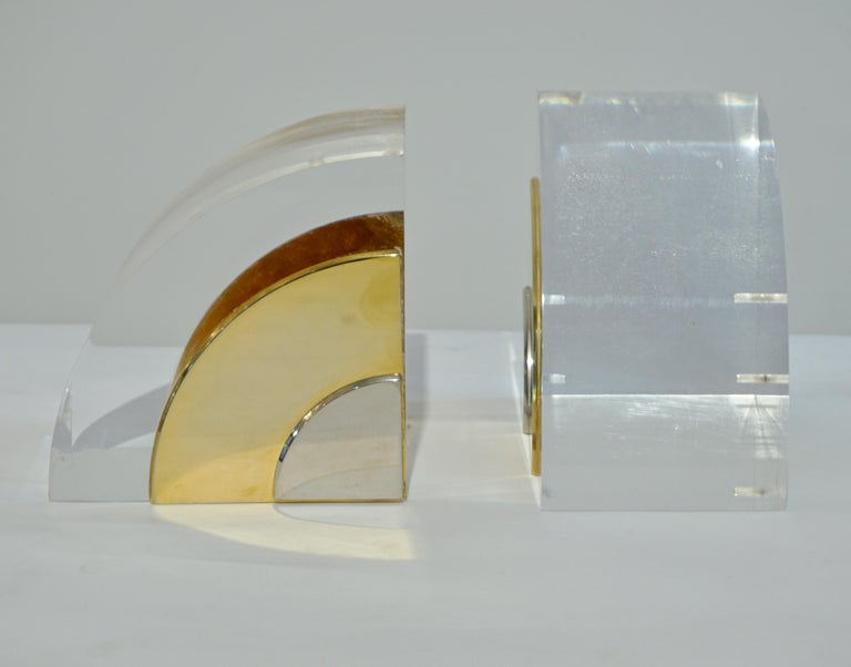 Hand-Crafted 1970 Italian Pair of Brass Nickel Lucite Bookends Attributed to Gabriella Crespi For Sale