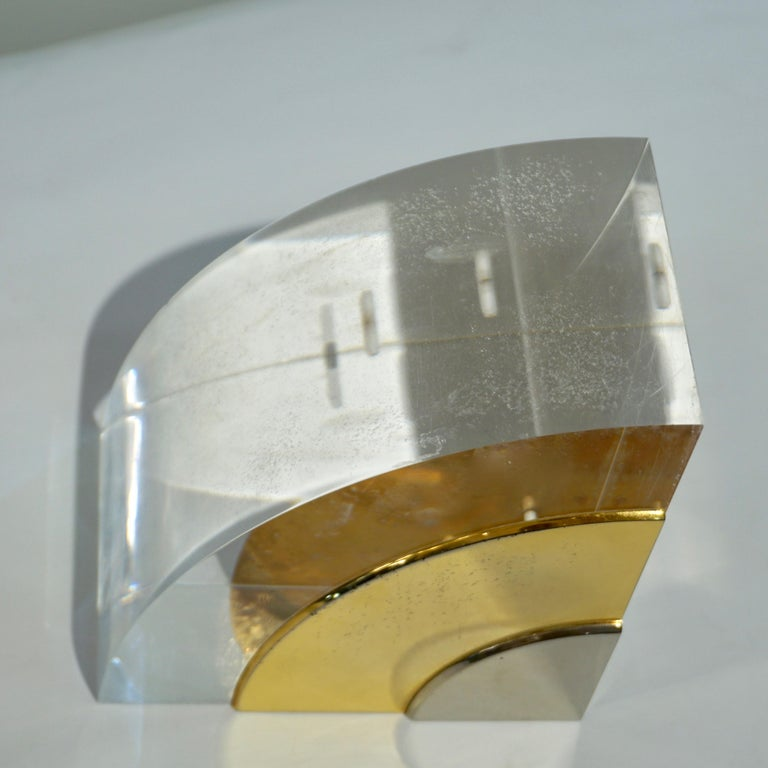 1970 Italian Pair of Brass Nickel Lucite Bookends Attributed to Gabriella Crespi For Sale 1