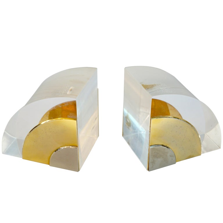1970 Italian Pair of Brass Nickel Lucite Bookends Attributed to Gabriella Crespi For Sale