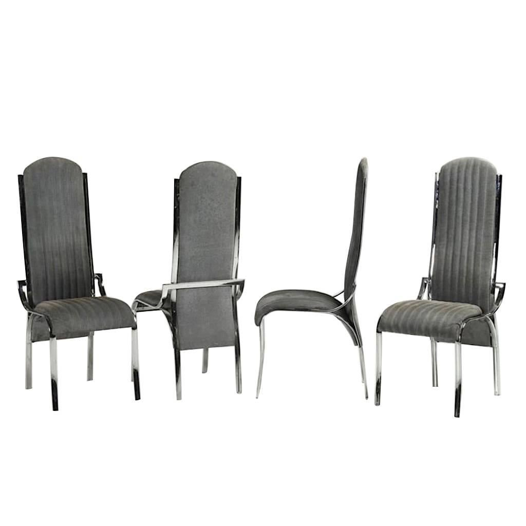 Italian Vintage Four Curved High Back Chrome Chairs in Blue Gray Stitch Fabric