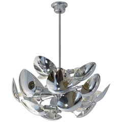 1970 Italian Vintage Oval Leaf Nickel Chandelier Attributed to Goffredo Reggiani