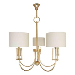 1970 Large Chandelier in Gilded Brass from the Maison Roche