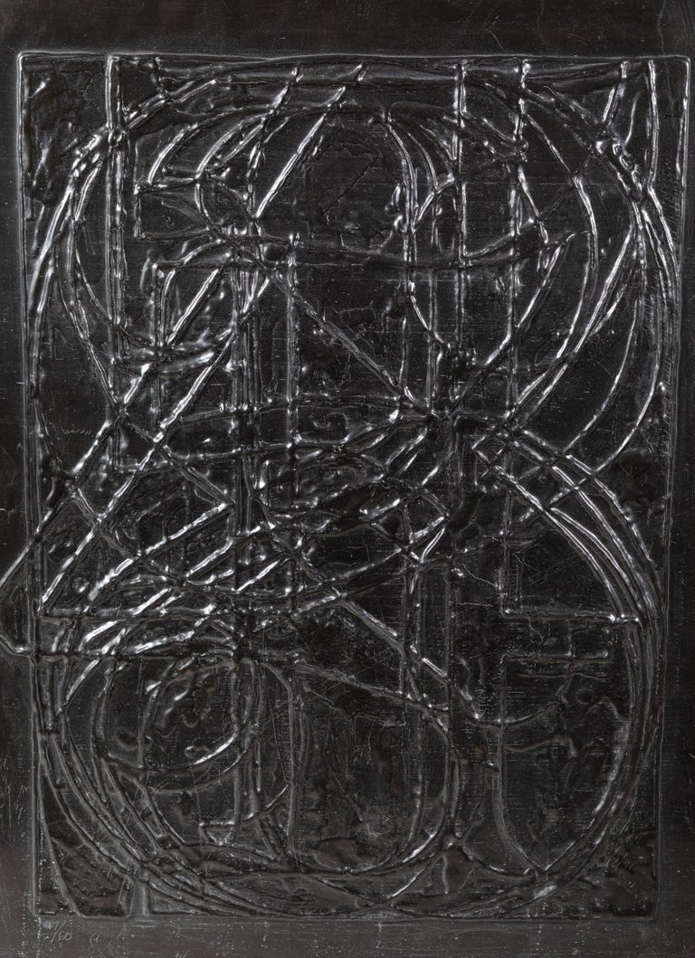 """Signed dated and numbered, embossed lead relief, 0 Through 9 (ULAE 84), by iconic American artist, Jasper Johns (b. 1930). Lower right: signed, """"Jasper Johns '70"""". Lower left: numbered 47/60. Select collections: MOMA, NYC; National Gallery of Art,"""