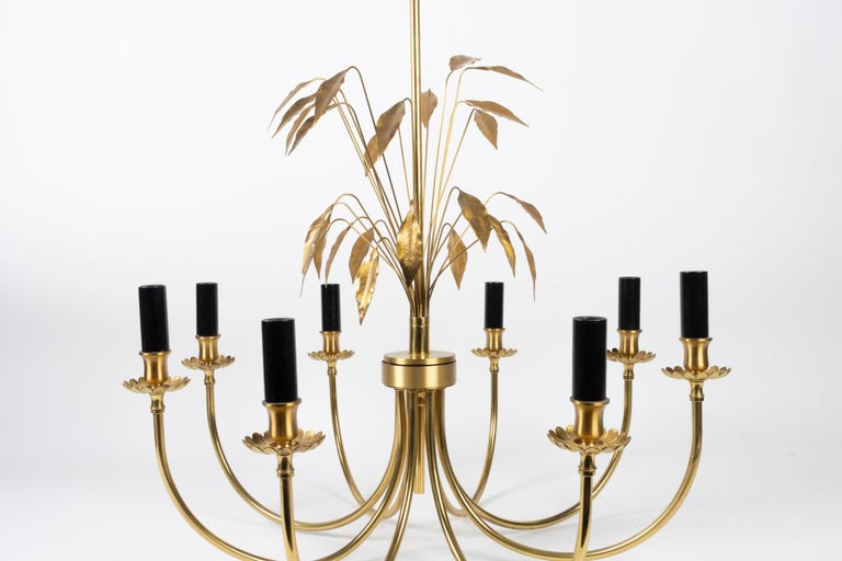 Late 20th Century 1970 Maison Charles Brass Chandelier For Sale