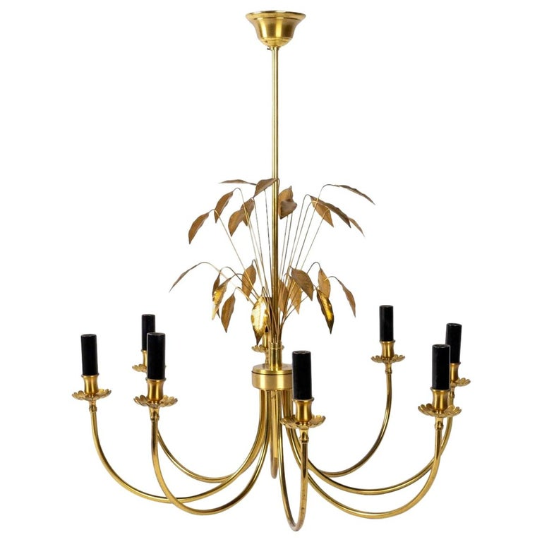 1970 Maison Charles Brass Chandelier For Sale