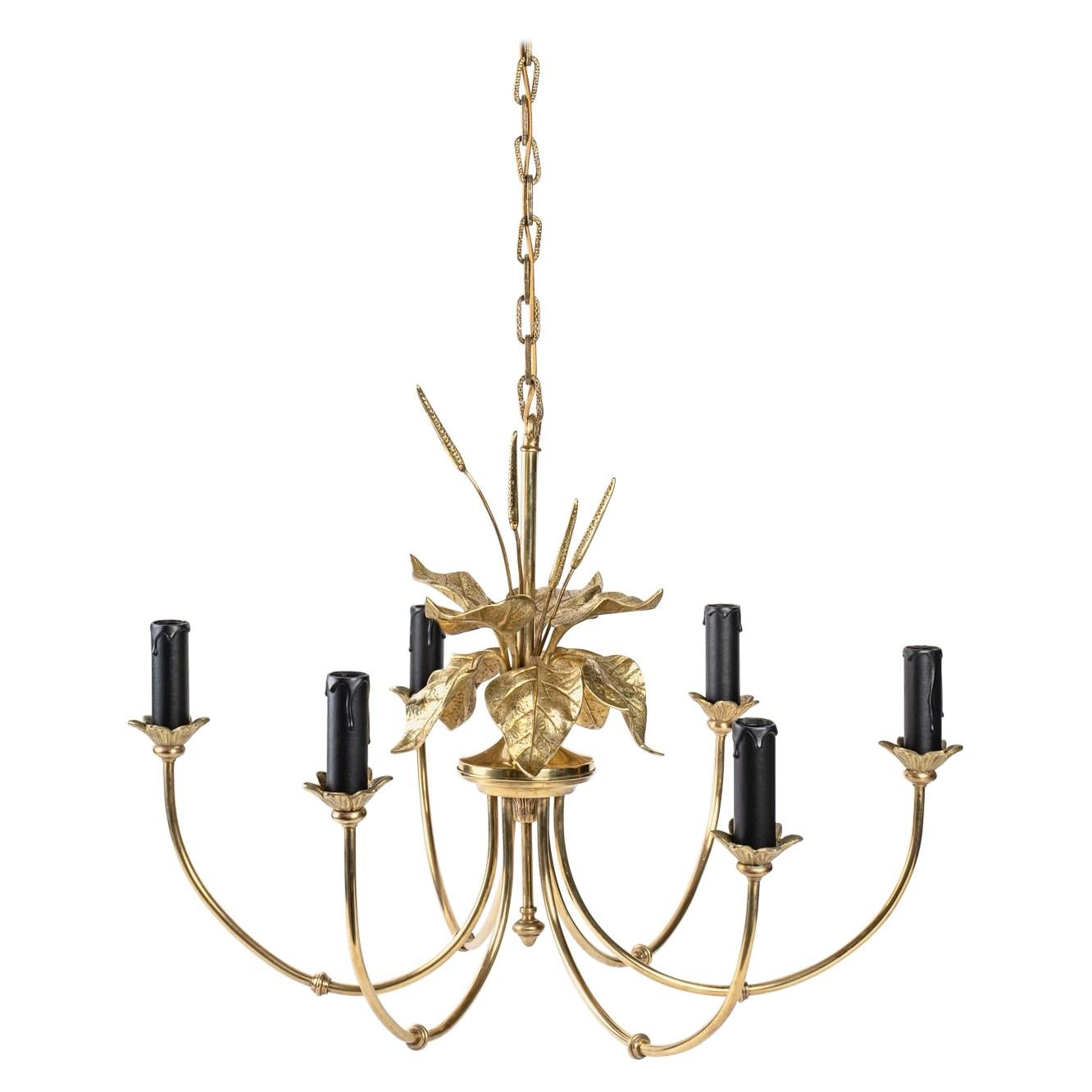 1970 Maison Charles Chandelier with Floral Decoration in Bronze