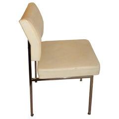 1970 Midcentury Chrome Steel Cream Skai Faux Leather Dining Desk Design Chair