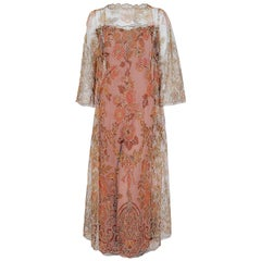 1970 Molyneux Haute Couture Metallic Floral Lace and Crepe Bell-Sleeve Jumpsuit