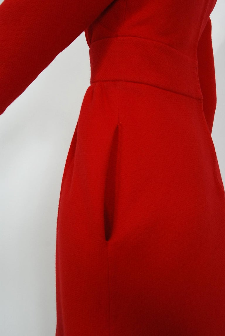 Vintage 1967 Nina Ricci Haute Couture Ruby Red Wool Full-Length Mod Jumpsuit For Sale 1