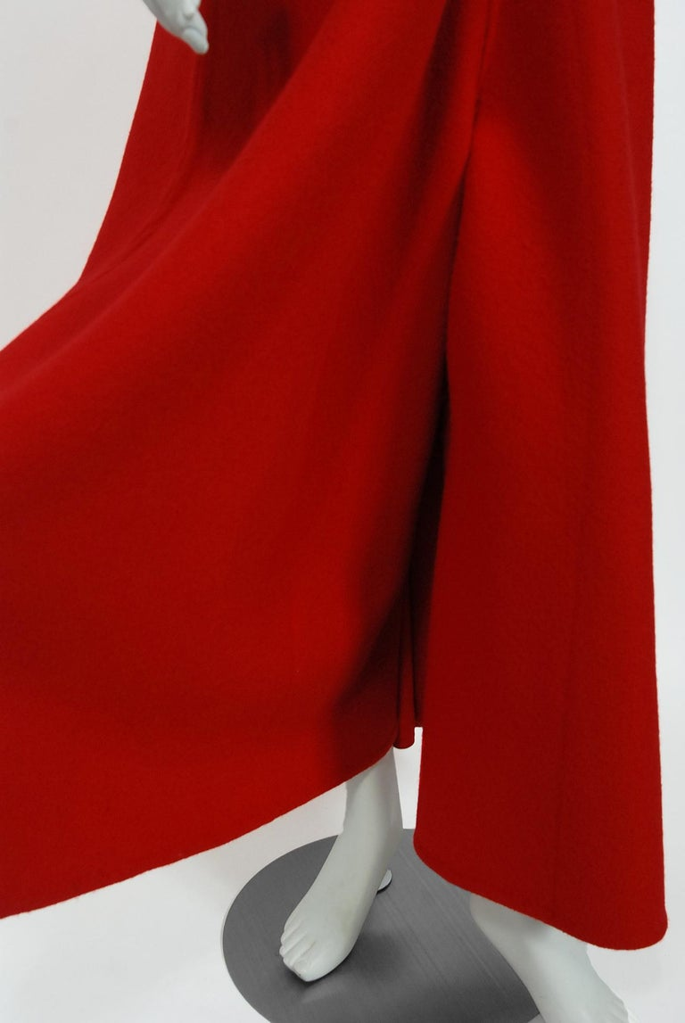 Vintage 1967 Nina Ricci Haute Couture Ruby Red Wool Full-Length Mod Jumpsuit For Sale 2