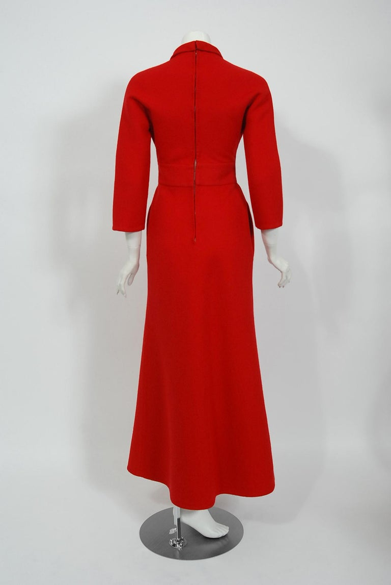 Vintage 1967 Nina Ricci Haute Couture Ruby Red Wool Full-Length Mod Jumpsuit For Sale 3