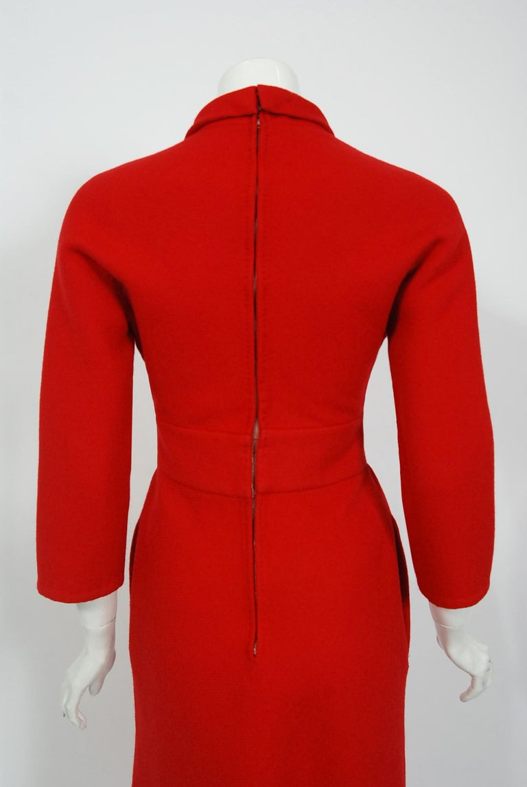 Vintage 1967 Nina Ricci Haute Couture Ruby Red Wool Full-Length Mod Jumpsuit For Sale 4