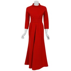 1967 Nina Ricci Haute Couture Ruby Red Wool Full-Length Mod Dress Jumpsuit