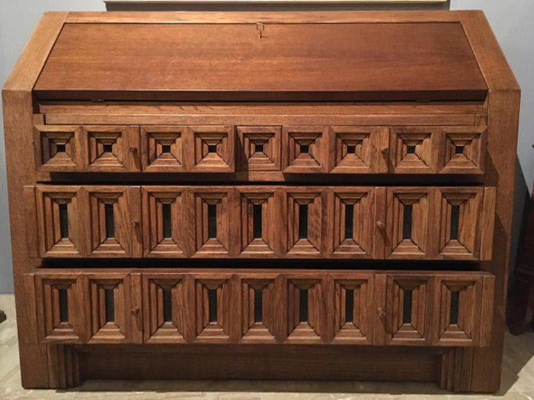 1970 Officina Rivadossi Oak Desk or Cabinet with Drawers in Brutalist Style For Sale 3