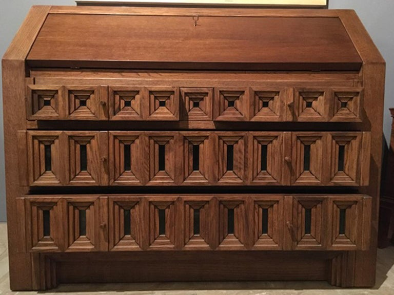 1970 Officina Rivadossi Oak Desk or Cabinet with Drawers in Brutalist Style For Sale 4