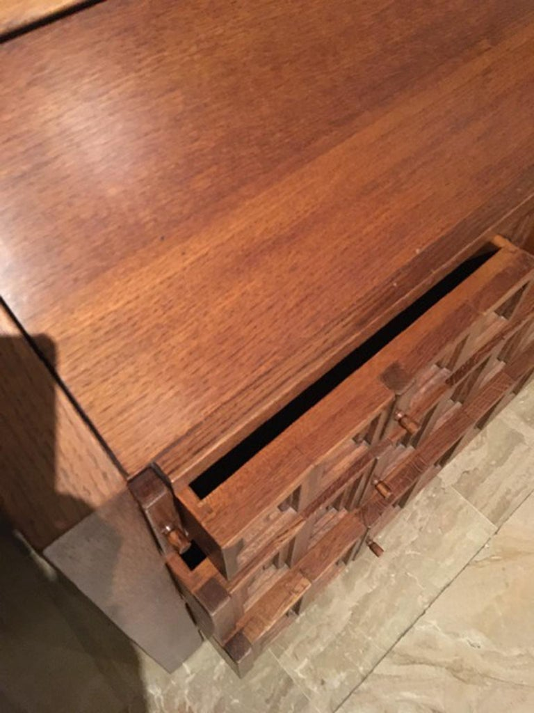 1970 Officina Rivadossi Oak Desk or Cabinet with Drawers in Brutalist Style For Sale 5