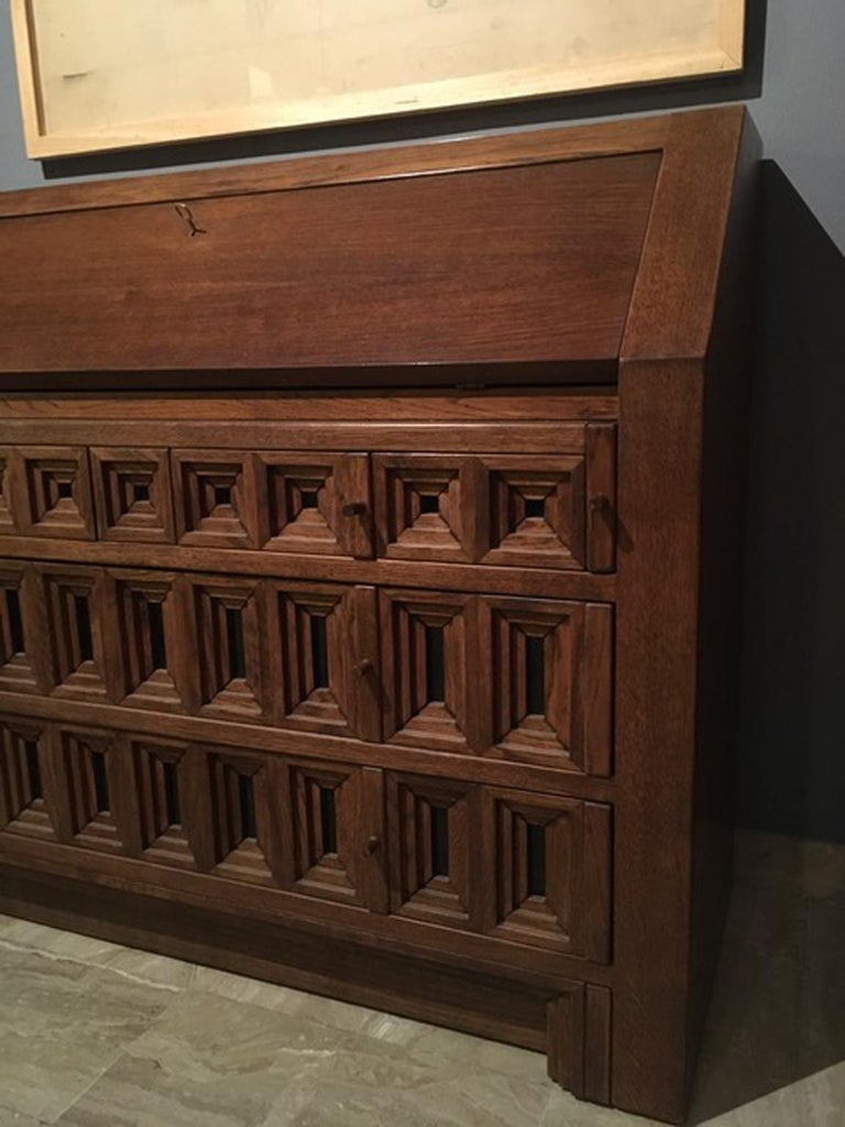1970 Officina Rivadossi Oak Desk or Cabinet with Drawers in Brutalist Style For Sale 6