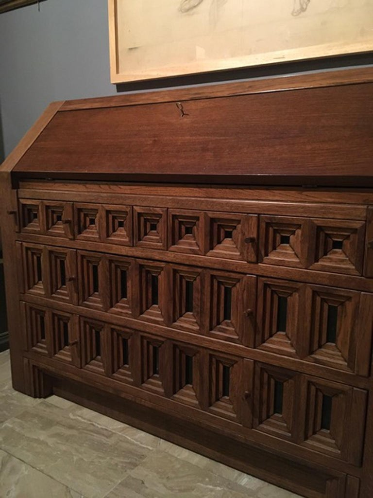 1970 Officina Rivadossi Oak Desk or Cabinet with Drawers in Brutalist Style For Sale 7