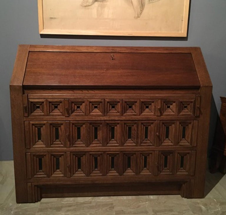 Hand-Crafted 1970 Officina Rivadossi Oak Desk or Cabinet with Drawers in Brutalist Style For Sale