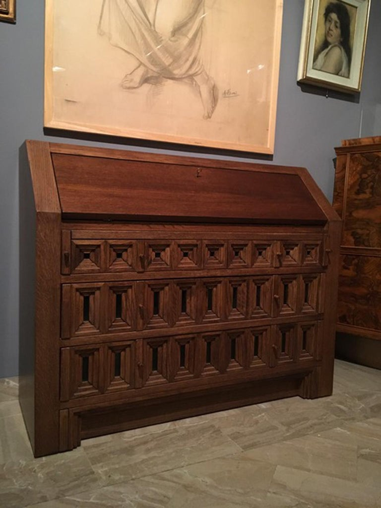 1970 Officina Rivadossi Oak Desk or Cabinet with Drawers in Brutalist Style In Good Condition For Sale In Brescia, IT