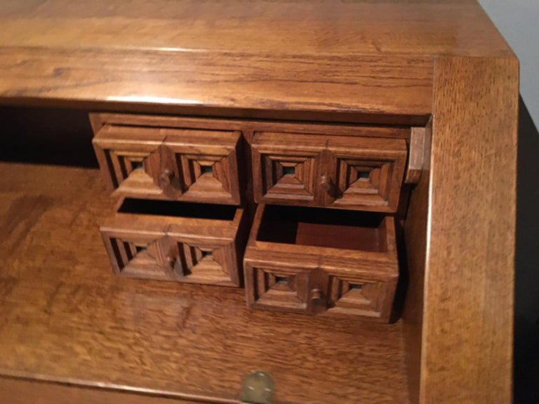 20th Century 1970 Officina Rivadossi Oak Desk or Cabinet with Drawers in Brutalist Style For Sale