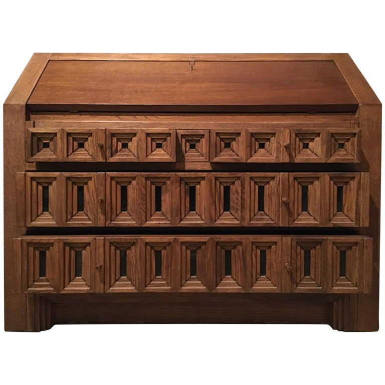 1970 Officina Rivadossi Oak Desk or Cabinet with Drawers in Brutalist Style For Sale