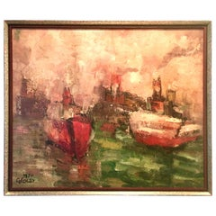 1970 Original Oil on Canvas Abstract Painting by Emilan Glocar