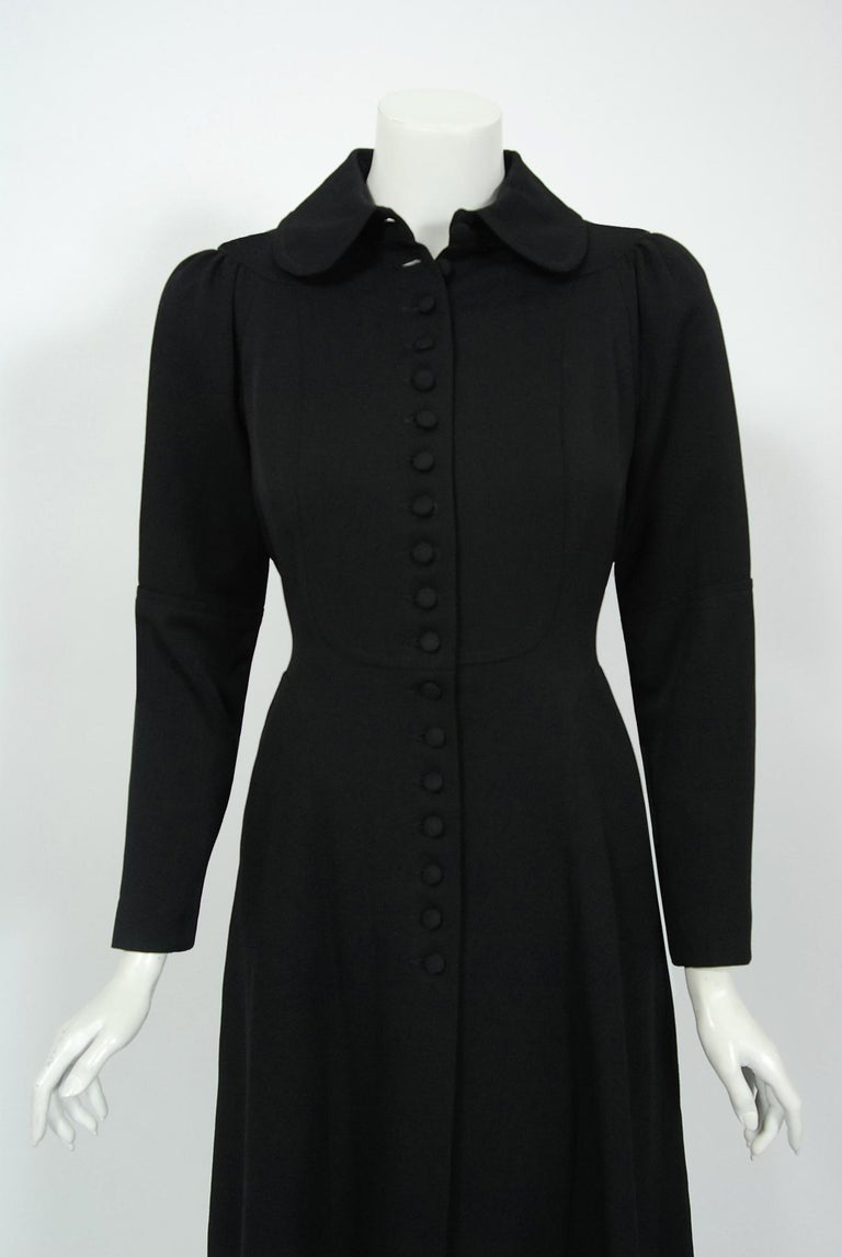 1970 Ossie Clark Couture Black Cotton-Twill Tailored Princess Dress Coat Jacket In Excellent Condition For Sale In Beverly Hills, CA