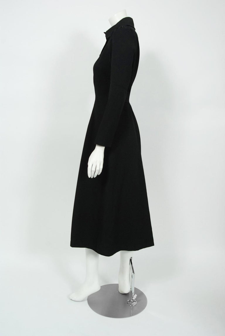 1970 Ossie Clark Couture Black Cotton-Twill Tailored Princess Dress Coat Jacket For Sale 1