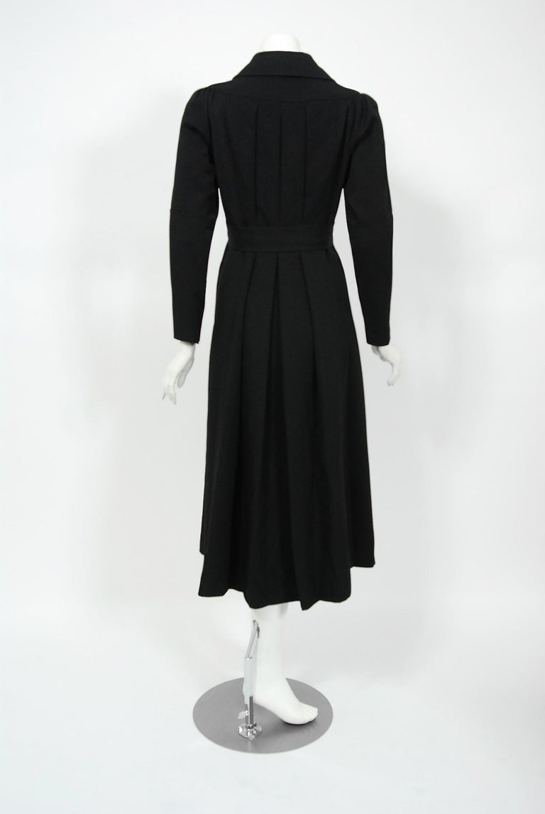 1970 Ossie Clark Couture Black Cotton-Twill Tailored Princess Dress Coat Jacket For Sale 2