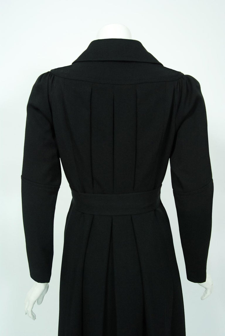 1970 Ossie Clark Couture Black Cotton-Twill Tailored Princess Dress Coat Jacket For Sale 3