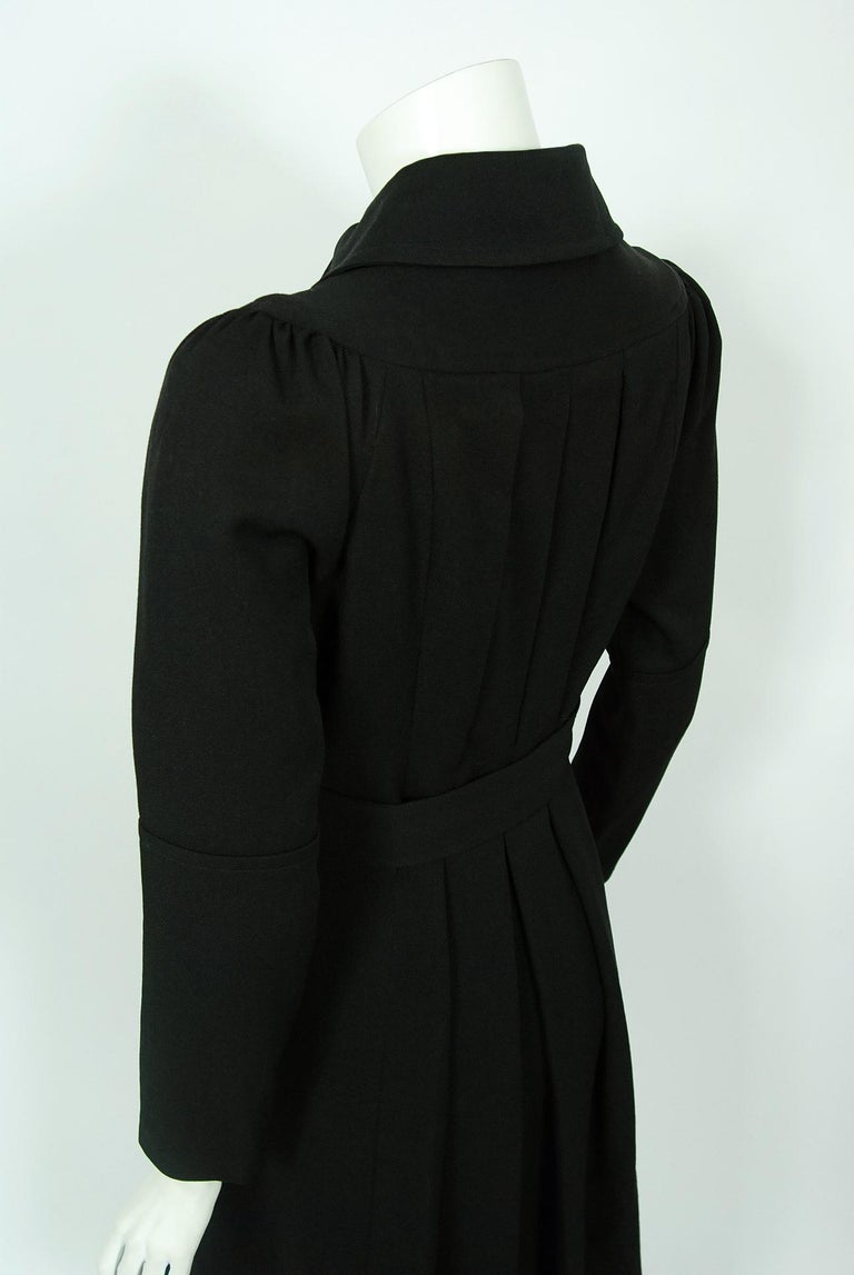 1970 Ossie Clark Couture Black Cotton-Twill Tailored Princess Dress Coat Jacket For Sale 4