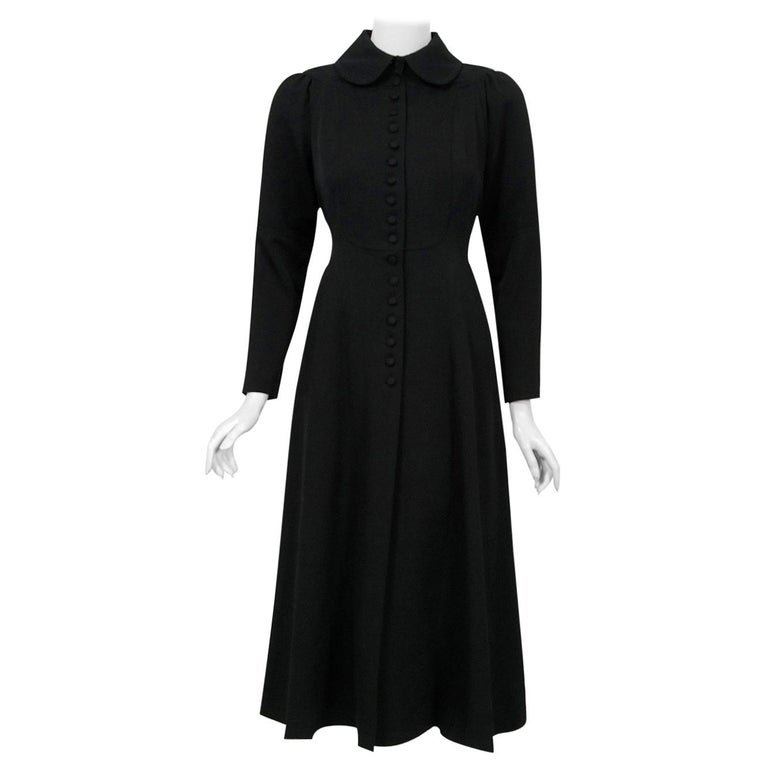 1970 Ossie Clark Couture Black Cotton-Twill Tailored Princess Dress Coat Jacket For Sale