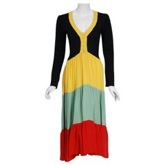 1970 Ossie Clark Couture Traffic Light Block-Color Tiered Crepe Plunge Dress