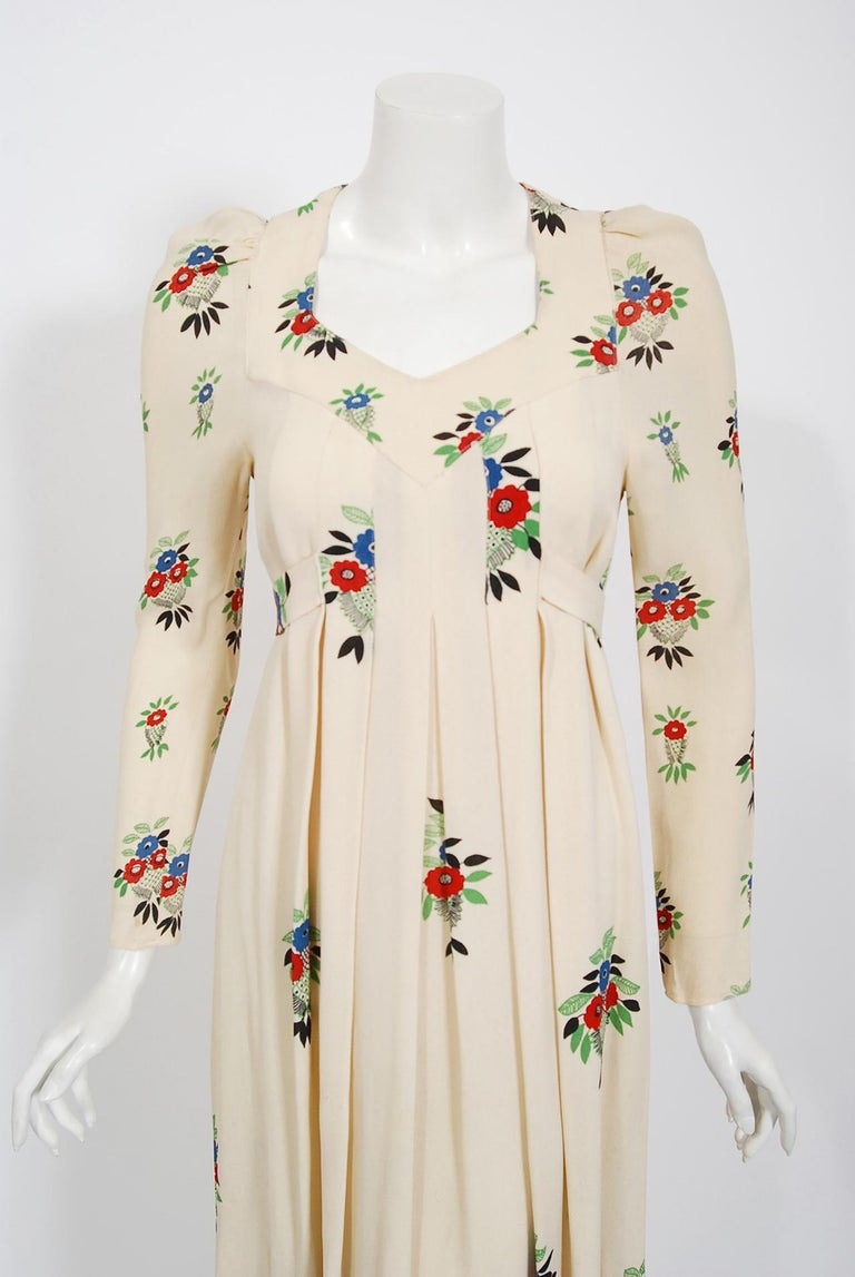Extremely rare Ossie Clark for Radley designer moss crepe dress dating back to his 1970 collection. English fashion designer, Raymond Ossie Clark, was a leading light in the London swinging sixties fashion era and is now renowned for his romantic