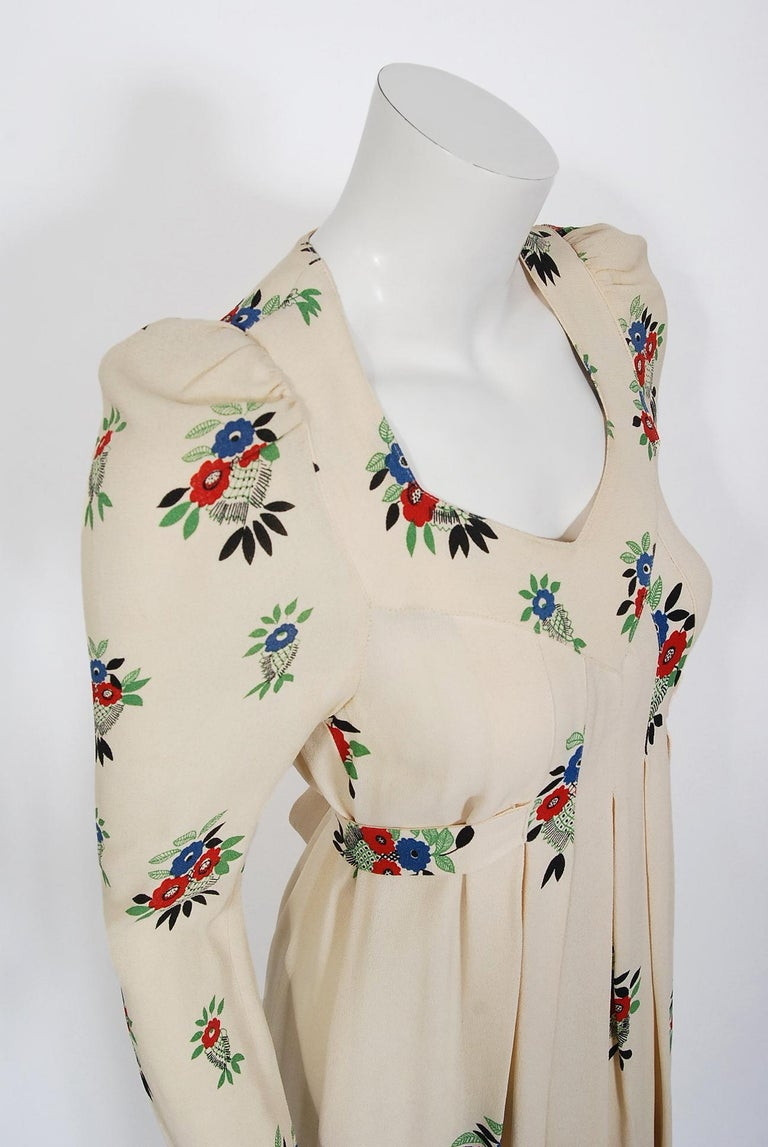 Beige 1970 Ossie Clark Ivory Moss-Crepe Celia Birtwell Floral Print Long Sleeve Dress For Sale