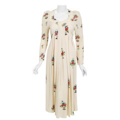 1970 Ossie Clark Ivory Moss-Crepe Celia Birtwell Floral Print Long Sleeve Dress