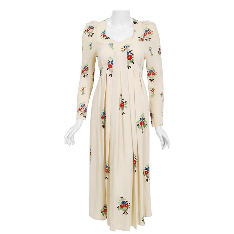 1970 Ossie Clark Ivory Moss-Crepe Celia Birtwell Floral Print Long Sleeve Dress For Sale