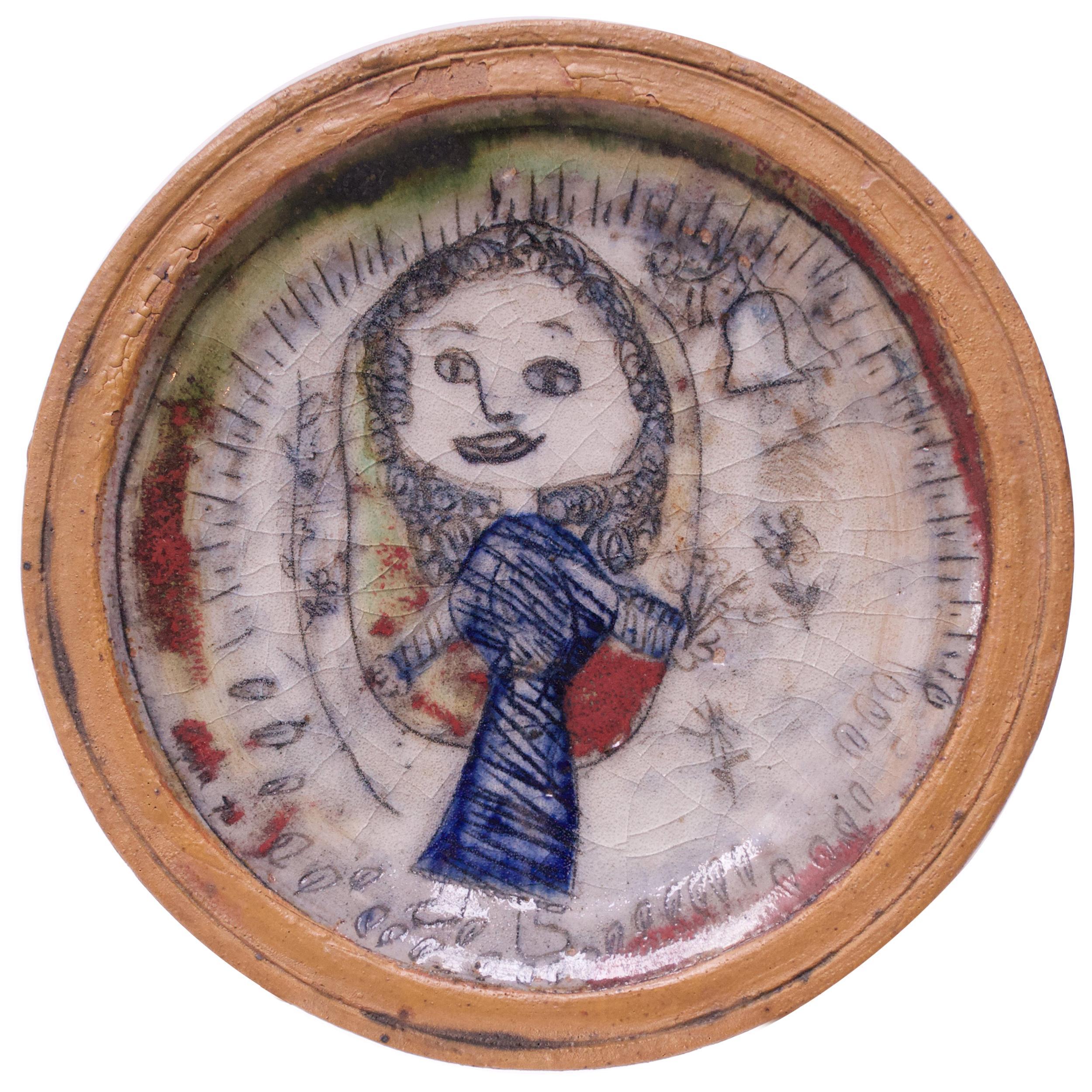 1970 Outsider Art Figural Stoneware Decorative Plate
