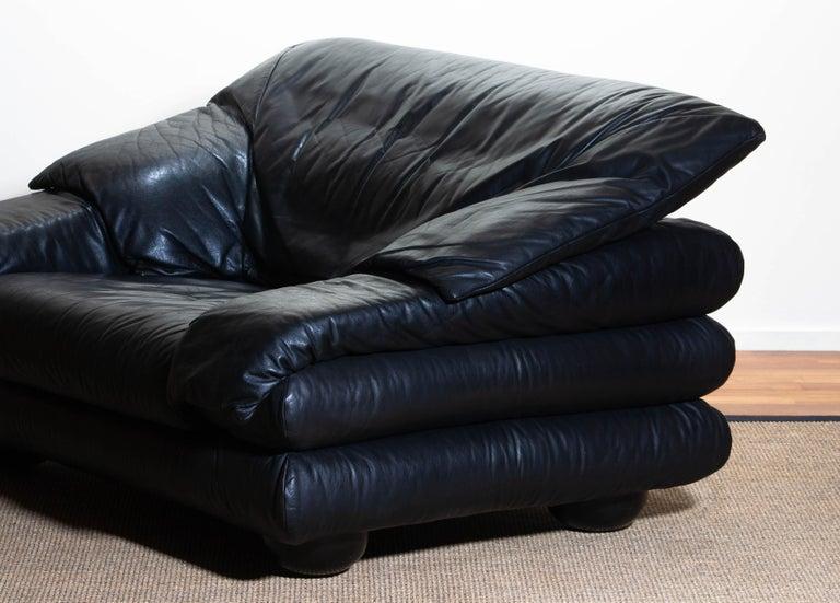 1970 Pair of Brutalist Lounge Chairs in Black Leather by Wiener Werkstatte 5