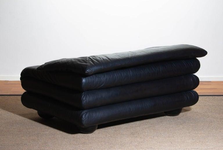 1970 Pair of Brutalist Lounge Chairs in Black Leather by Wiener Werkstatte 8