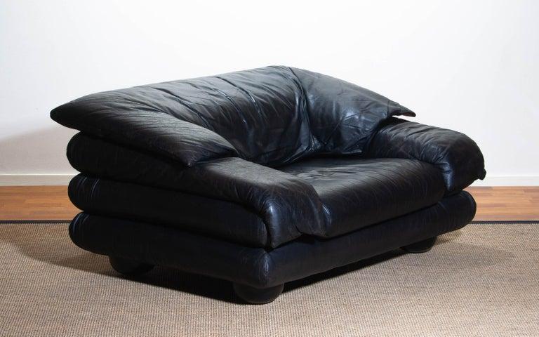 1970 Pair of Brutalist Lounge Chairs in Black Leather by Wiener Werkstatte 9