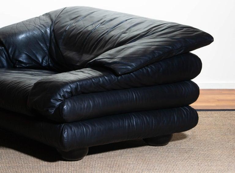 1970 Pair of Brutalist Lounge Chairs in Black Leather by Wiener Werkstatte 4