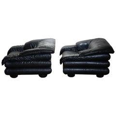 1970 Pair of Brutalist Lounge Chairs in Black Leather by Wiener Werkstatte