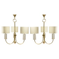 1970 Pair of Chandeliers in Gilded Brass from the Maison Roche