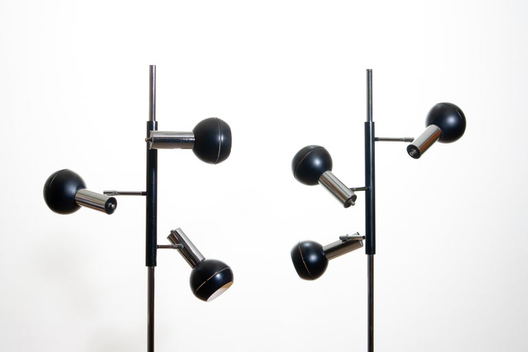 1970, Pair of Chrome and Black Metal Floor Lamps by Koch & Lowy OMI Germany For Sale 1