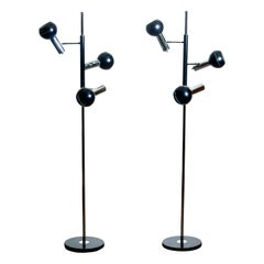 1970, Pair of Chrome and Black Metal Floor Lamps by Koch & Lowy OMI, Germany