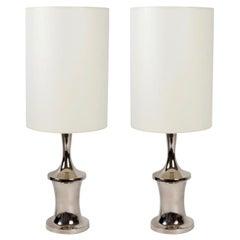 1970 Pair of Frederic De Lucas Chromed Lamps