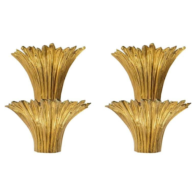 1970 Pair of Gilded Bronze Sconces Model Cascade Maison Charles For Sale