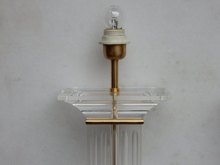 Renaissance 1970 Pair of Lamps in Lucite Columns Deco For Sale